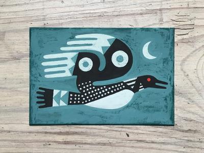Midnight Loon animal art bird animal gouache painting art draw drawing illustration