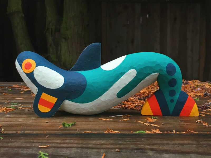 Orca - Patagonia Portland animal whale wood sculpture drawing illustration