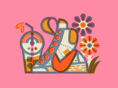 Cold Brew Season psychedelic flower nike shoe draw drawing design vector illustration