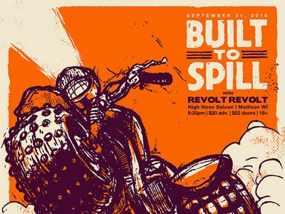 Built to Spill - High Noon Saloon  built to spill poster screenprint gigposter three-wheeler madison high noon saloon
