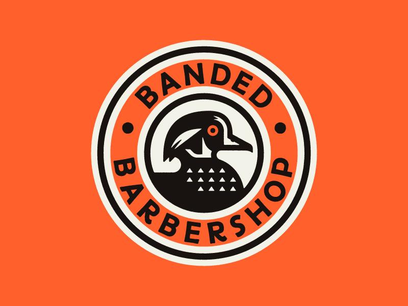 Banded Barbershop art vector graphic branding draw typography logo design lettering type illustration