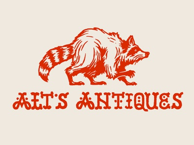 Alt's Antiques logo antiques raccoon drawing illustration typography