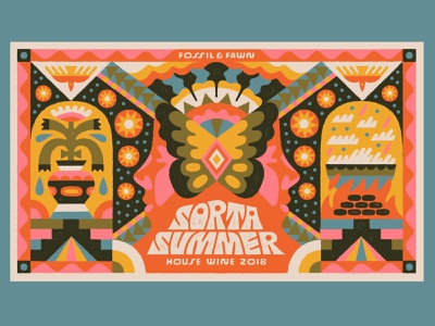 Sorta Summer - Fossil & Fawn wine label wine drawing typography design lettering type illustration