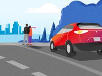 Boro Car Scotiabank car rental web illustrations ui flat vector design illustration