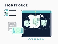 LIGHTFORCE explainer video company flat vector minimal styleframe illustration