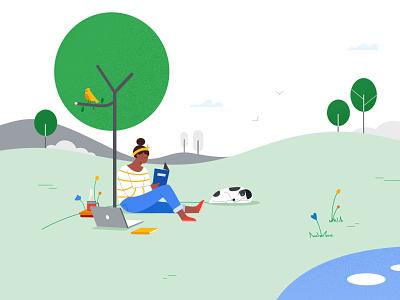 GOOGLE YETI CAMPAIGN web illustration styleframe design flat vector illustration