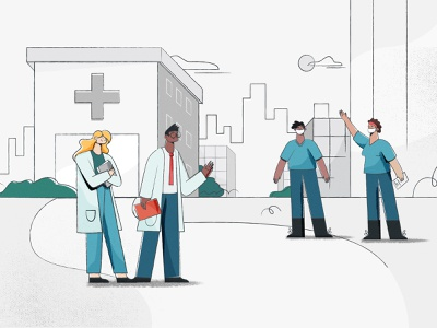 Healthcare characters web illustration styleframe design vector character design illustration