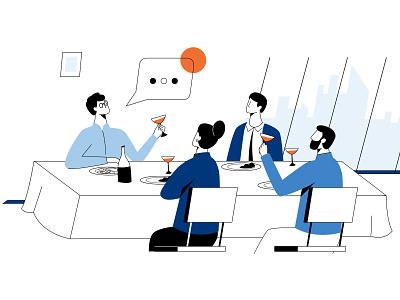 Dinner meeting flat vector minimal character design illustration