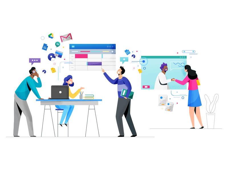 G-Collab google collaboration character design vector design web illustration