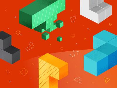 Apigee Ads vector minimal shapes design colorful tetris illustration illustator web ads coatofarms ads