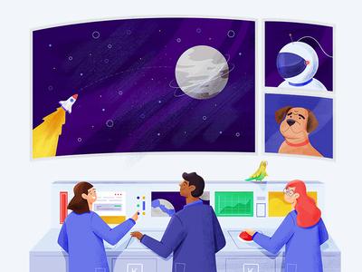 Kelvin Spacelab webillustration vector colorful styleframe character design illustration