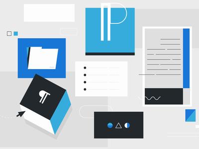 WordPress 5.0 colorful minimal vector design styleframe flat illustration