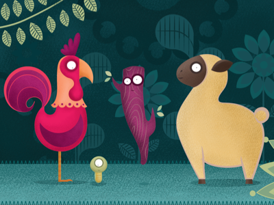 El Gallo Kiriko gallo kiriko illustration animals tale palo gusanito vector character