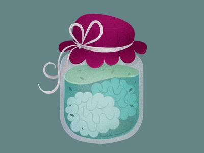 Mermelada de Sesos · The Brain Jam branding vintage illustration glass mermelada jar jam brain retro logo