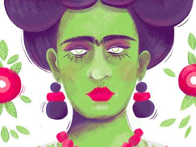 Zombie Frida Kahlo wacom drawing illustration zombie violet purple woman mexico painting feminism kahlo frida