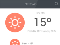 Weather app - Red color.