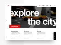 Clean landing page w/ grids and modern type