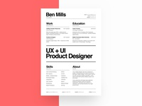 UX/UI Designer Resumé