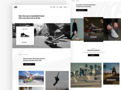 Nike SB Layout Concept photography skateboarding nike sb nike typography fashion landing page ux ui