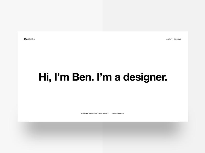 Portfolio Site homepage case study minimal helvetica typography landing portfolio ui ux
