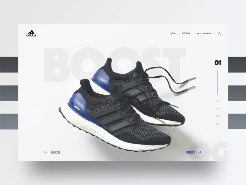 Adidas Ultraboost OG concept photography sneakers shoes agency boost adidas typography landing page web design ux design ui design ux ui