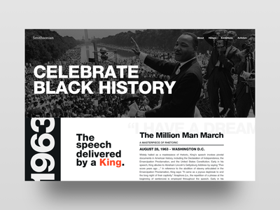 Black History Month Concept bhm black history month martin luther king jr mlk helvetica typography photography landing page web design ux design ui design ux ui
