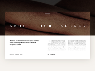 M.A. Agency. About page woman model about us layout girl beauty ux ui fashion