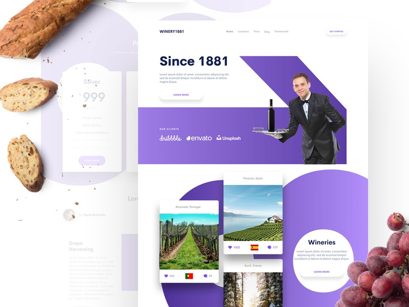 Winery Landing Page web design uidesign ui design sketch ui design landing page design landing page clean