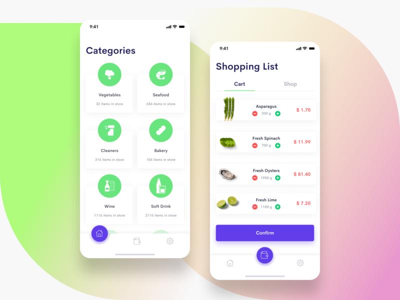 Shopping List categories list shopping iphone app mobile iphone ios app ui design ui sketch figma design clean