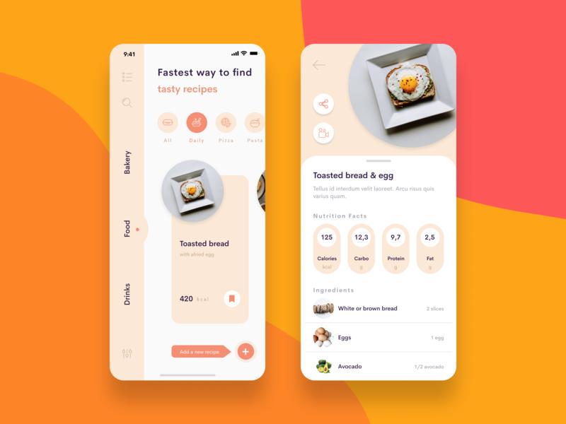 Toasted bread & egg food app food clean figma ui sketch ui design ios app design iphone iphone app mobile app apple shoping brand