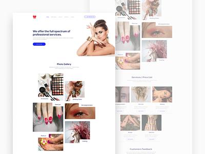 Phoenix Beauty Zone landing design landing page pedicure coloring manicure nail salon hairstyle website design web design website beauty salon beauty ui design clean ui figma design