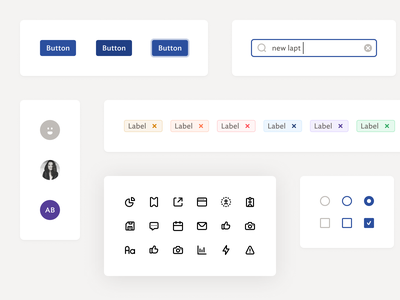 UI components styleguide library checkbox button design system pills input icon avatar component