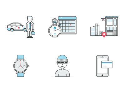 Heal icons card thief security phone doctor watch location calendar car icons illustration
