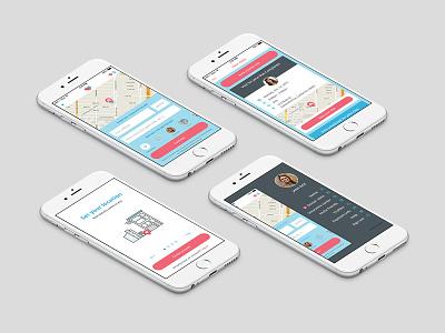 Heal App cards sidebar doctor map health mobile app