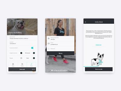 Dog walking app mobile interface ui app dog
