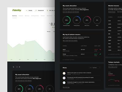 Investment Dashboard graph cards interface dark dashboard