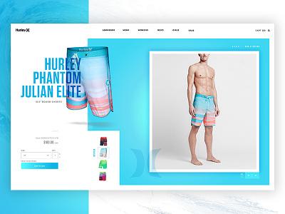 Hurley Phantom Julian Elite Concept Product Card nike digital ui ux webdesign water blue surfing surf product card concept hurley