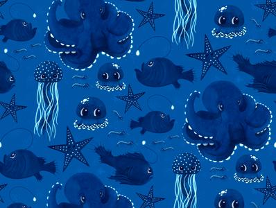 Bioluminescence Pattern watercolor digital octopus ocean cute illustration surface pattern surface pattern design pattern design