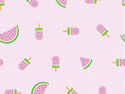 Watermelon Popsicles seed seeds popsicles popsicle ice cream summer polka dots black green pink watermelon vector design pattern cute illustration surface pattern surface pattern design pattern design