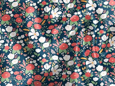Strawberry Fields fabric children women clothing textile strawberry pattern vector flowers cute illustration surface pattern surface pattern design pattern design