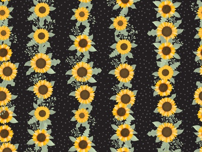 Sunflower - Elf, Black clothing children fabric repeat floral pattern black green yellow floral autumn summer fall field sunflower sunflowers cute illustration surface pattern surface pattern design pattern design