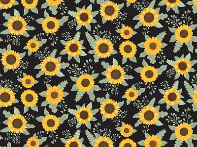 Sunflower, Mammoth - Black clothing children textile design fabric pattern fabric repeat summer autumn fall sunflowers sunflower textile design floral pattern cute illustration surface pattern surface pattern design pattern design