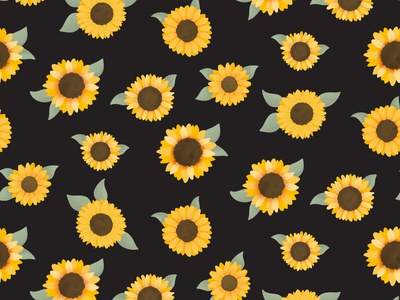 Sunflower - Skyscraper, Black fabric green black yellow sunflower sunfowers womens clothing childrens repeat pattern repeat textile design floral pattern cute illustration surface pattern surface pattern design pattern design