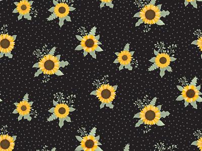 Sunflower -  Suntastic, Black women fabric sunflowers fabric design patch sunflower children textile design floral pattern cute illustration surface pattern surface pattern design pattern design