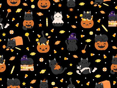 Halloween Candy & Kitties - Black costumes black cat candy corn pumpkin halloween children pattern cute illustration surface pattern surface pattern design pattern design