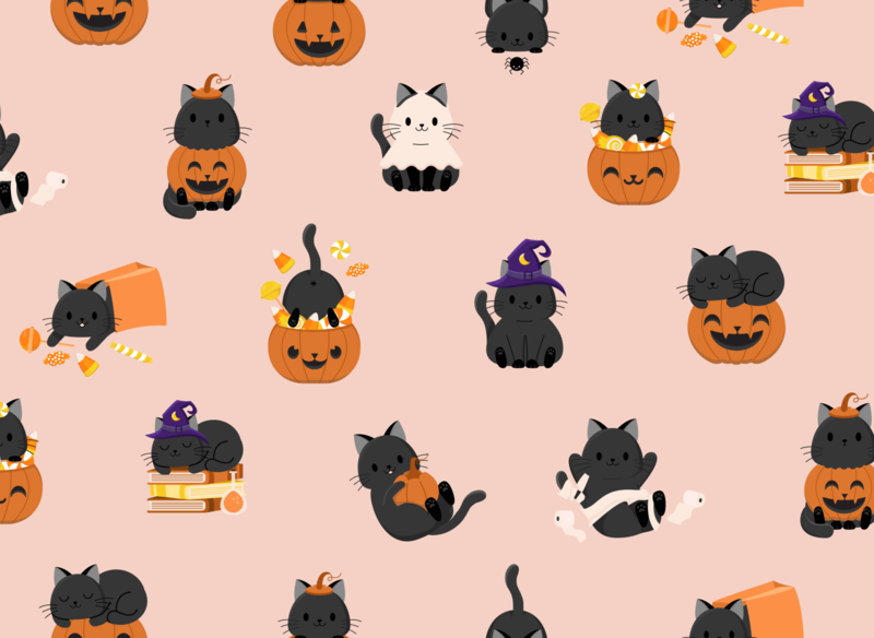Halloween Candy & Kitties - Peachy Cream costumes cats halloween party halloween design cat black pumpkin trickortreat candy halloween pattern cute illustration surface pattern surface pattern design pattern design