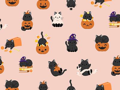 Halloween Candy & Kitties - Peachy Cream costumes cats halloween party halloween design cat black pumpkin trickortreat candy halloween pattern cute illustration surface pattern surface pattern design pattern design