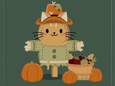 Kitty Crow thanksgiving day harvest autumn fall pumpkin kitty cat scarecrow thanksgiving pattern cute illustration surface pattern surface pattern design pattern design