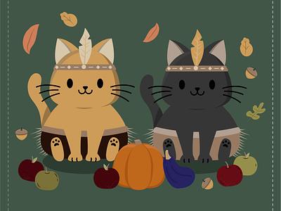 Native Kitties harvest holiday children autumn fall kitty cats thanksgiving pattern vector cute illustration surface pattern surface pattern design pattern design