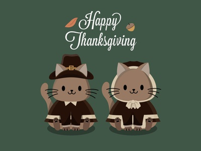 Happy Thanksgiving Pilgrims harvest holiday children autumn fall kitty cats thanksgiving pattern vector cute illustration surface pattern surface pattern design pattern design